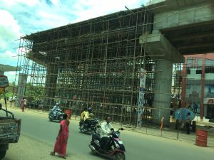Construction of a section of a planned flyover in Chennai