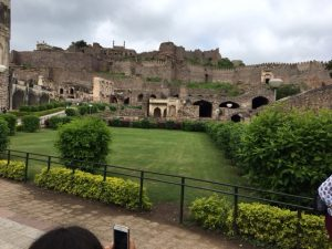A more manicured section of the Golconda Fort site.