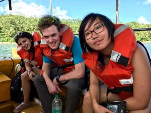 Reyna, me, and Heather on a glass bottom boat tour of the coral reef ecosystem at Red Skin Island in the Mahatma Gandhi Marine National Park.