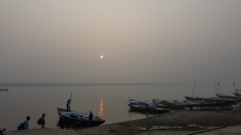 The Ganges River at Sunrise. Photo taken by Heather Lowe